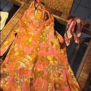 Laundry by Shelli Segal Silk Halter Sun Dress